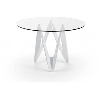 Mesa diseño moderno 120x76 fibra de vidrio y tapa transparente modelo EOS