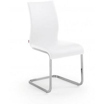 Silla diseño moderno acero cromado color blanco puro modelo TRIBECCA