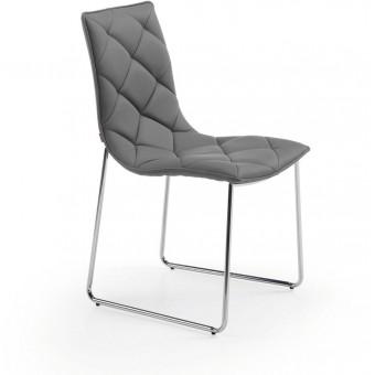 Silla diseño moderno cromada color gris modelo BAXTER