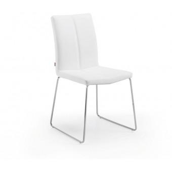 Silla diseño moderno acero inoxidable color blanco puro modelo DRITO