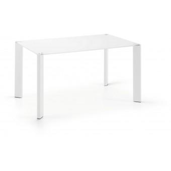 Mesa Diseño Moderno 140x90 Pies epoxy blanco Y Tapa Cristal Blco.Modelo CORNER