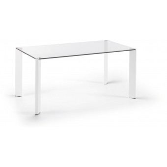 Mesa Diseño Moderno 160x90 Pies epoxy blco.puro Y Tapa Cristal Transparente.Modelo CORNER