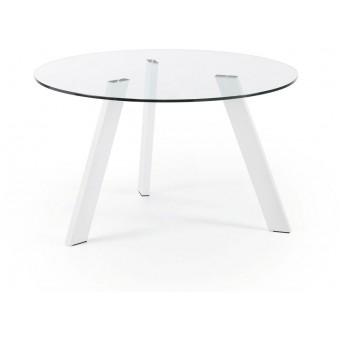 Mesa Diseño Moderno Redonda 130 Cm.Epoxy Blanco Puro Cristal Transparente Modelo COLUMBIA