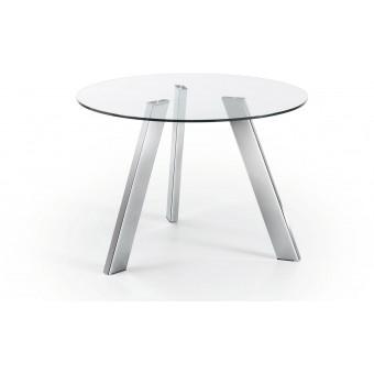 Mesa diseño moderno redonda 110 cm.cromado cristal transparente modelo COLUMBIA