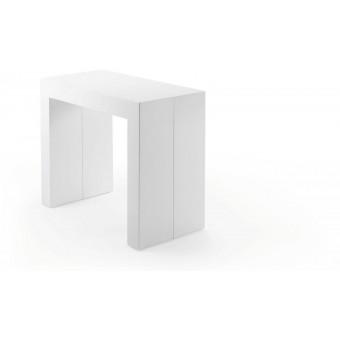 Mesa diseño moderno consola en DM lacado blanco extensible 45 (200) modelo PENTA