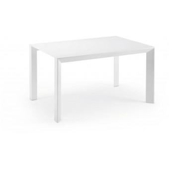 Mesa De Diseño Moderno Extensible De 90 Cm(140 Cm)Con Tapa Lacada Brillo Blanco Modelo NEWPORT