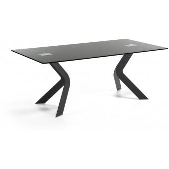 Mesa Diseño Moderno 180x90 Pies acero epoxy negro Y Tapa Cristal negro.Modelo VIRGINIA