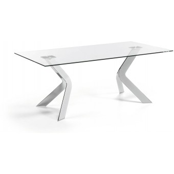 Mesa Diseño Moderno 200x100 Pies acero cromado Y Tapa Cristal Transparente.Modelo VIRGINIA