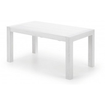 Mesa diseño moderno extensible de 160 cm.(230 cm.) con patas en madera maciza de roble y tapa chapa roble color blanco modelo ZENTOSA