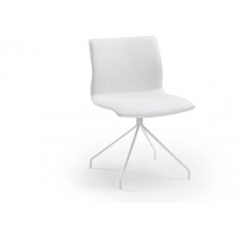 Silla diseño moderno asiento piel blanco puro y pies epoxy blanco modelo TIME1