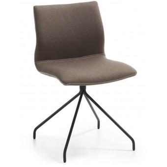 Silla diseño moderno asiento tejido marrón oscuro y pies epoxy negro modelo TIME1