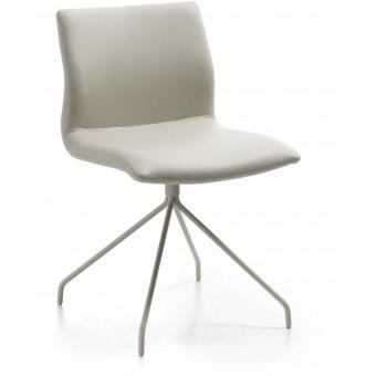 Silla diseño moderno asiento piel perla y pies epoxy perla modelo TIME1