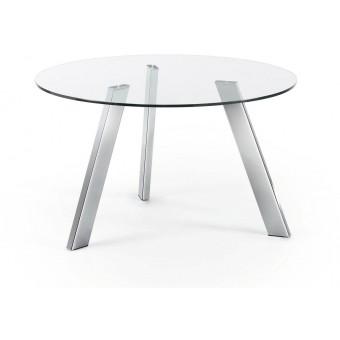 Mesa Diseño Moderno Redonda 130 Cm.Cromado Cristal Transparente Modelo COLUMBIA