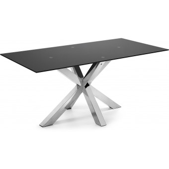 Mesa Diseño Moderno 200x100 Con Pies acero inoxidable Y Tapa Cristal Negro Modelo ARYA