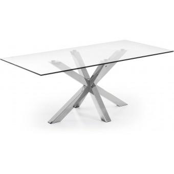 Mesa Diseño Moderno 200x100 Con Pies Acero inoxidable Y Tapa Cristal templado transparente Modelo ARYA