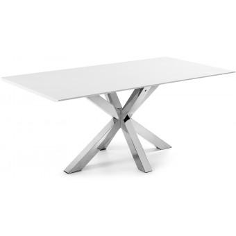 Mesa Diseño Moderno 200x100 Con Pies Acero Inoxidable Y Tapa DM lacado brillo blanco Modelo ARYA
