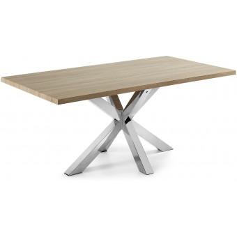 Mesa Diseño Moderno 200x100 Con Pies Acero Inoxidable Y Tapa DM color natural Modelo ARYA