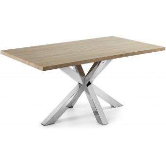 Mesa Diseño Moderno 180x100 Con Pies Acero Inox Y Tapa DM natural Modelo ARYA