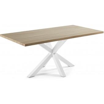 Mesa Diseño Moderno 200x100 Con Pies Acero Epoxy Blanco Y Tapa DM natural Modelo ARYA