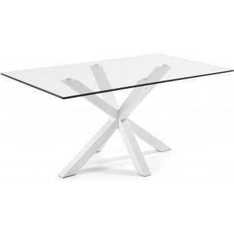 Mesa Diseño Moderno 180x100 Con Pies en epoxy blanco y cristal templado transparente modelo ARYA