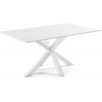 Mesa Diseño Moderno 180x100 Con Pies en epoxy blanco y tapa en DM lacado blanco modelo ARYA