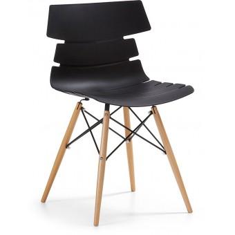 Silla diseño moderno asiento plastico negro pata madera modelo PULMAK