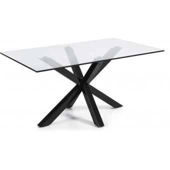 Mesa Diseño Moderno 180x100 con pies en epoxy negro y cristal templado transparente Modelo ARYA