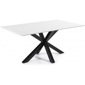 Mesa Diseño Moderno 180x100 Con Pies En Epoxy negro Y tapa en DM lacado blanco Modelo ARYA