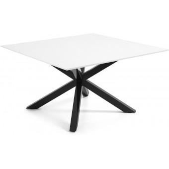 Mesa Diseño Moderno 149x149 Con Pies Acero Epoxy negro Y Tapa DM lacado brillo blanco Modelo ARYA-C