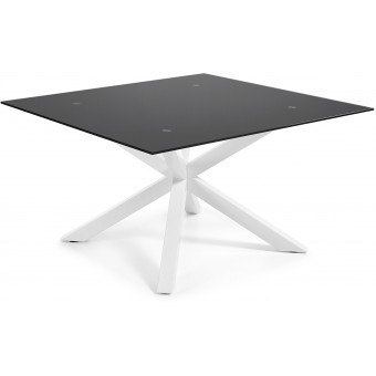 Mesa Diseño Moderno 149x149 Con Pies Acero epoxy blanco Y Tapa cristal negro Modelo ARYA-C