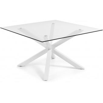 Mesa Diseño Moderno 149x149 Con Pies Acero Epoxy Blanco Y Tapa Cristal transparente Modelo ARYA-C