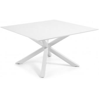 Mesa Diseño Moderno 149x149 Con Pies Acero Epoxy Blanco Y Tapa DM lacado brillo blanco Modelo ARYA-C