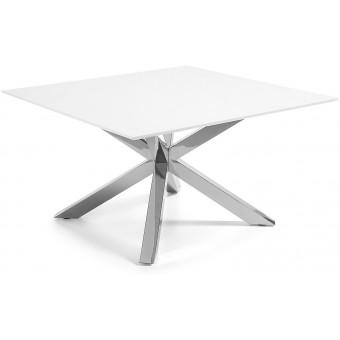 Mesa Diseño Moderno 149x149 Con Pies Acero inoxidable Y Tapa DM brillo blanco Modelo ARYA-C