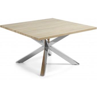 Mesa Diseño Moderno 149x149 Con Pies Acero inoxidable Y Tapa DM natural Modelo ARYA-C