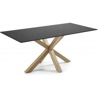 Mesa Diseño Moderno 200x100 Con Pies Chapado Natural Y Tapa Cristal Negro Modelo ARYA