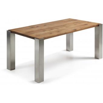 Mesa diseño moderno 180x90 pies acero inox.y tapa de roble natural modelo ULRIC