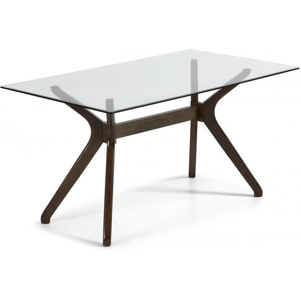 Mesa dise o moderno pies madera color nogal y tapa cristal - Mesas cristal diseno ...