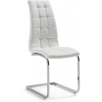 Silla diseño moderno acero cromado color blanco puro modelo WALKER