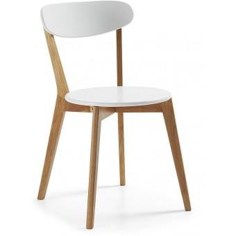 Silla diseño moderno con pies en madera natural y asiento en madera blanca lacada modelo LUANA