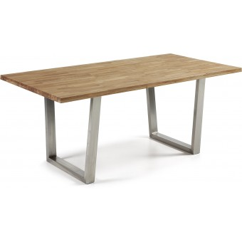 Mesa diseño moderno 200x100 con pies acero inox.y tapa madera roble modelo CARTER