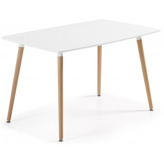 Mesa Diseño Moderno 140x80 Cm.Lacada Blanco Puro Modelo DAW