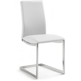 Silla Diseño Moderno Acero Inoxidable Color Blanco Puro Modelo NATHAN