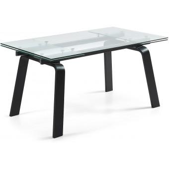 Mesa De Diseño Moderno Extensible De 160 Cm(240 Cm)Con Tapa De Vidrio Templado transparente modelo TUSCAN