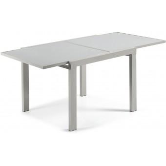 Mesa diseño moderno extensible de 90 cm.(180cm.)con tapa de vidrio templado pintado en gris modelo ANJA