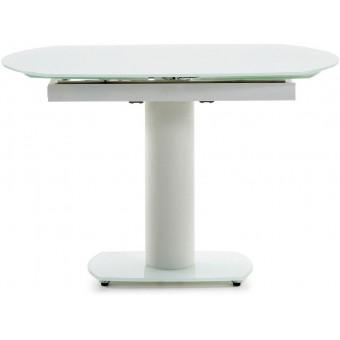 Mesa diseño moderno extensible de 120 cm.(180 cm.)epoxy blanco y tapa cristal blanco modelo BLU