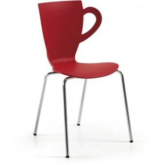 Silla dise o moderno pie cromado y asiento pl stico rojo - Sillas plastico diseno ...