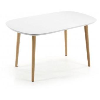Mesa Diseño Moderno Oval Y Extensible 140(220)Pies Madera Natural Y Tapa En DM Lacado Blanco Modelo OAKLAND