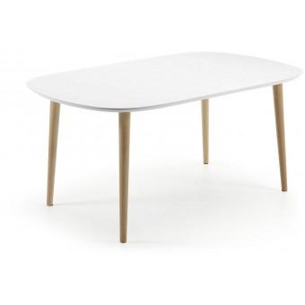 Mesa Diseño Moderno Oval Y Extensible 160(260)Pies Madera Natural Y Tapa En DM Lacado Blanco Modelo OAKLAND